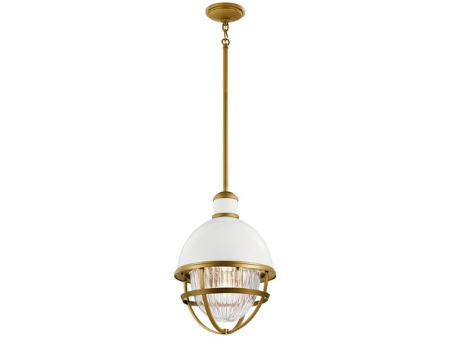 Tollis™ 18 inch 1 Light Hanging Pendant with Clear Ribbed Glass in White and Natural Brass