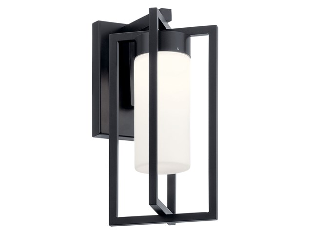 "Drega 11"" 1 LED Wall Light with Satin Etched Glass Black"