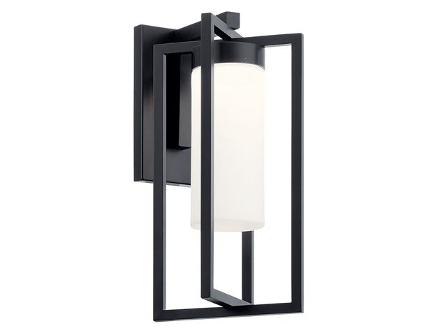 "Drega 14"" 1 LED Wall Light with Satin Etched Glass Black"