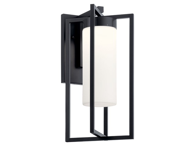 "Drega 18.5"" 1 LED Wall Light with Satin Etched Glass Black"