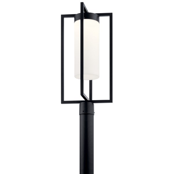 "Drega 24"" 1 LED Post Light with Satin Etched Glass Black"