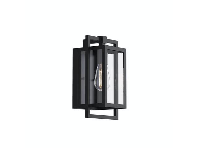 "Goson™ 12"" 1 Light Wall Light with Clear Glass Black"