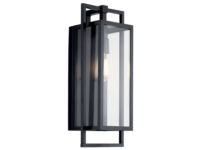 "Goson™ 20"" 1 Light Wall Light with Clear Glass Black"