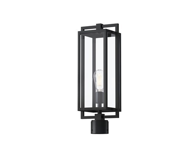 "Goson™ 20"" 1 Light Post Light with Clear Glass Black"