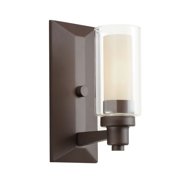 "Circolo 10"" 1 Light Wall Sconce with Clear Outer and Umber Etched Inner Cylinders Olde Bronze®"