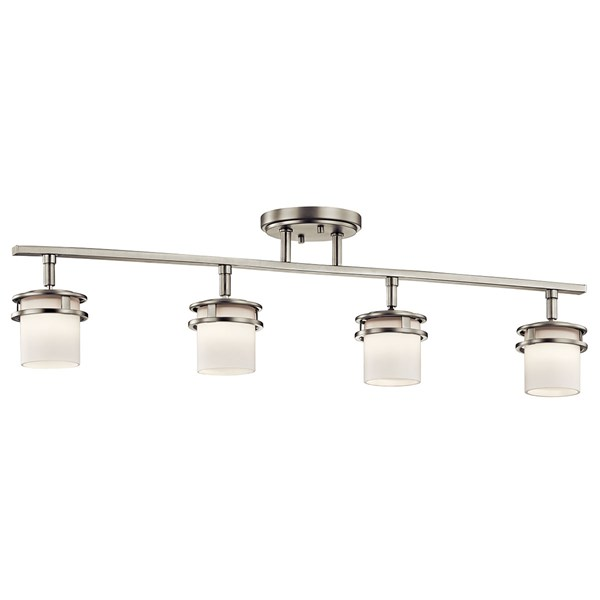 "Hendrik™ 30"" 4 Light Rail Light with Satin Etched Cased Opal Brushed Nickel"