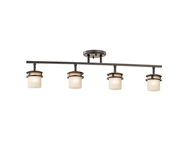 "Hendrik™ 30"" 4 Light Rail Light with Light Umber Etched Glass Olde Bronze®"