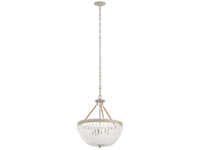 Kona Cay 3 Light Inverted Pendant Distressed Antique White