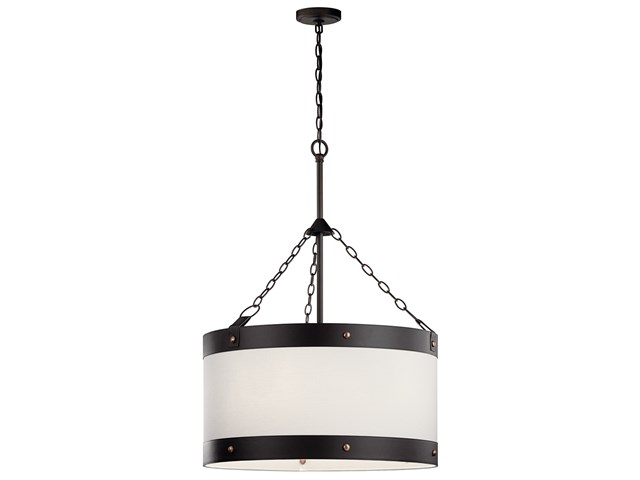 Rayleigh 3 Light Foyer Pendant Fabric Shade Olde Bronze