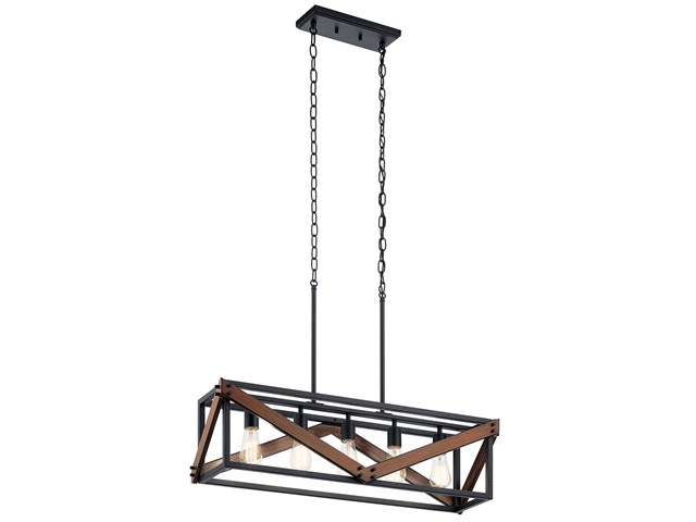 "Barrington™ 32"" 5  Light Linear Chandelier Distressed Black and Aged Faux Wood"