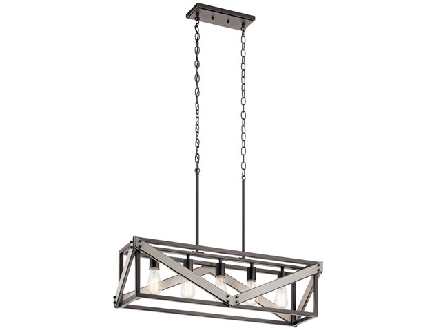 "Barrington™ 32"" 5 Light Linear Chandelier Anvil Iron"
