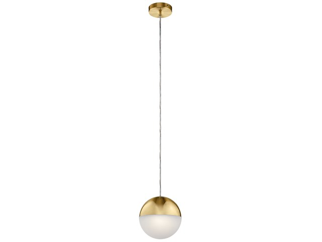 "Moonlit 8"" LED Pendant with Etched Acrylic Champagne Gold"
