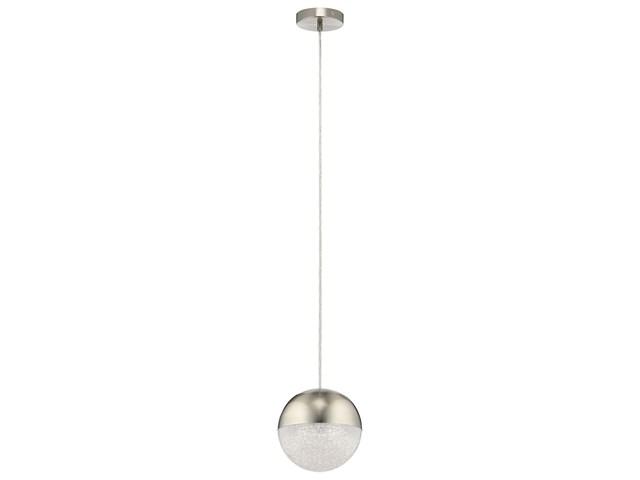 "Moonlit 7.75"" 1 Light LED Pendant Brushed Nickel"