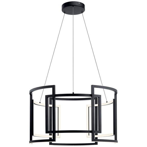 "Melko™ 32"" LED Round Pendant Black"