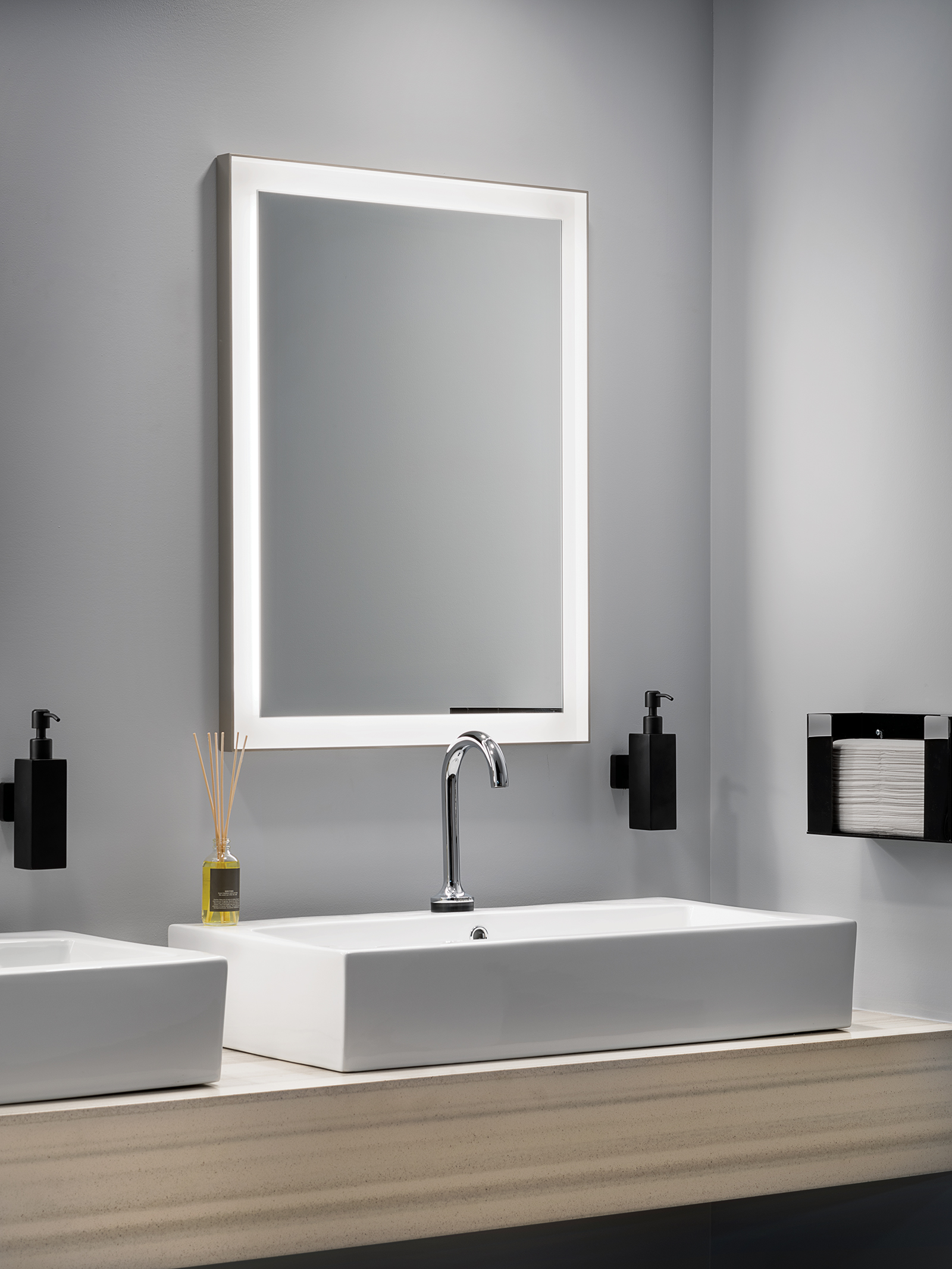 Picture of: Ryame 24 Lighted Mirror Silver Kichler Lighting