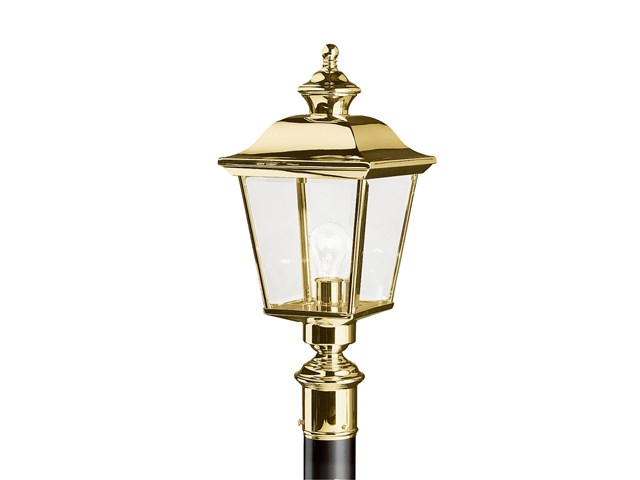 Bay Shore 1 Light Post Light Polished Brass