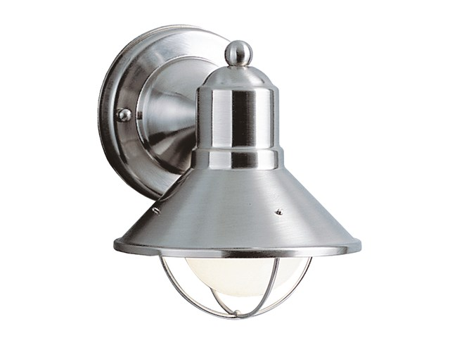 "Seaside™7.5"" 1 Light Outdoor Wall Light with Glass Globe Brushed Nickel"